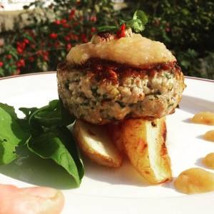 Pork burger with fennel, pistachio and chilli, served with apple and plum sauce .. Delish!