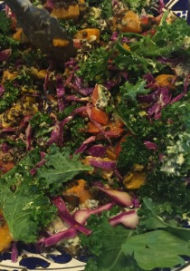 'Rainbow salad' with kale, puy lentils, red cabbage, pumpkin